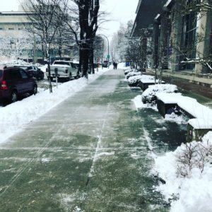 Snow cleared sidewalk in Vancouver